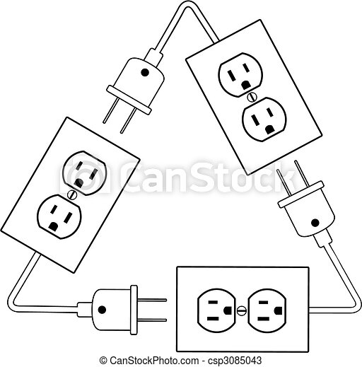 Electrical outlets plug recycle renewable electric energy - csp3085043