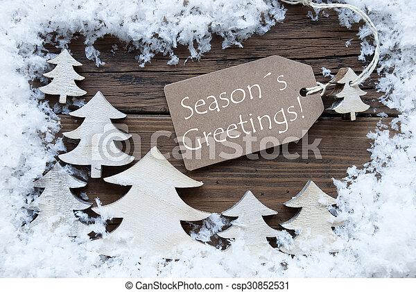 Label Christmas Trees And Snow Seasons Greetings