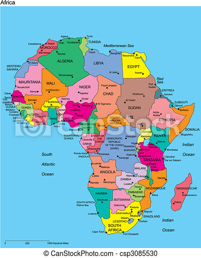 Africa with Editable Countries and Names - csp3085530