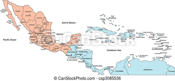 Central America with Editable Countries and Names - csp3085536