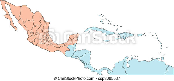 Central America with Editable Countries - csp3085537