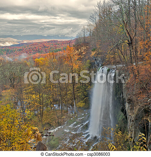 Beauiful waterfall cascade in the mountains. - csp3086003
