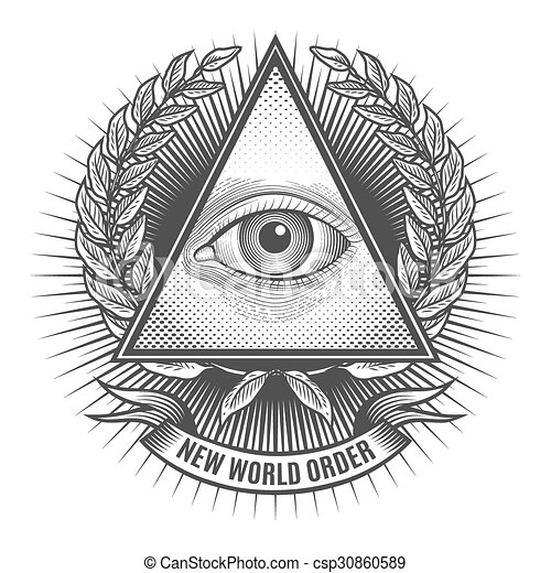 All seeing eye in delta triangle - csp30860589
