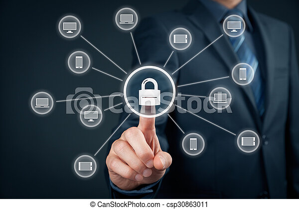 Information technology devices security concept. Businessman click on button with padlock linked to IT devices (PC, notebook, tablet, mobile phone).