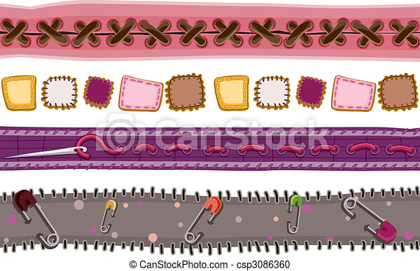 Stitches and Patches Borders - csp3086360