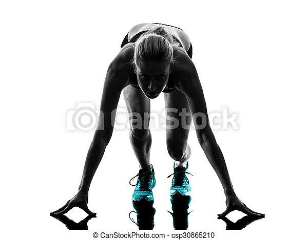 woman runner running jogger jogging silhouette - csp30865210