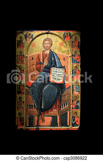 old orthodox paintings in a Greek Church - csp3086922