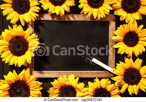 Colorful frame of yellow sunflowers