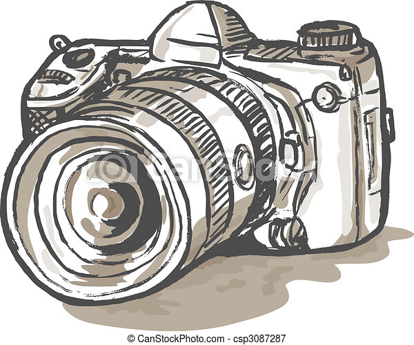 drawing  of a digital SLR camera - csp3087287