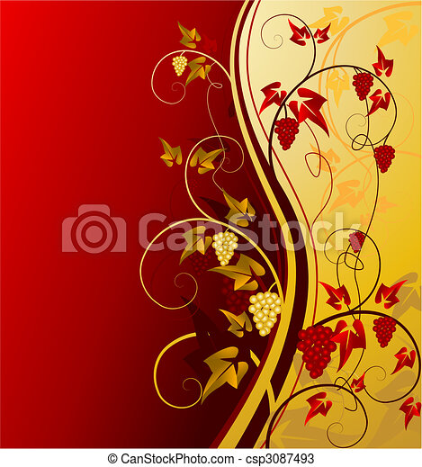 gold vintage background with grape - csp3087493