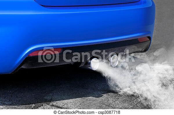 pollution of environment from powerful sport car - csp3087718