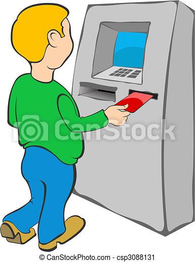 Man puts credit card into ATM - csp3088131