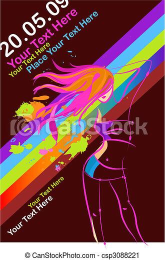 Template for a retro disco party flyer - csp3088221