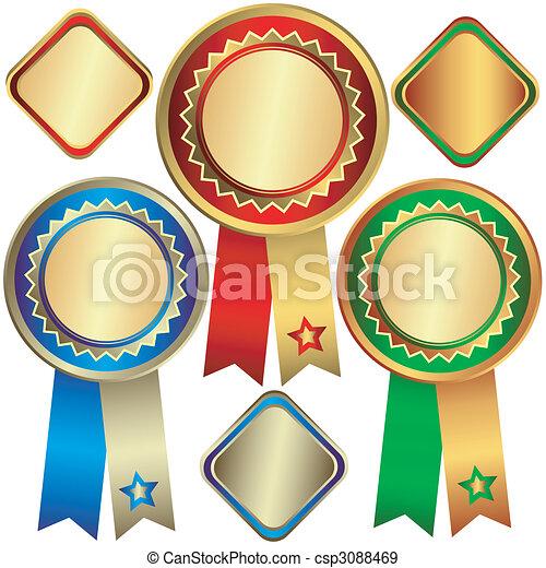 Gold, silver and bronze awards (vector) - csp3088469