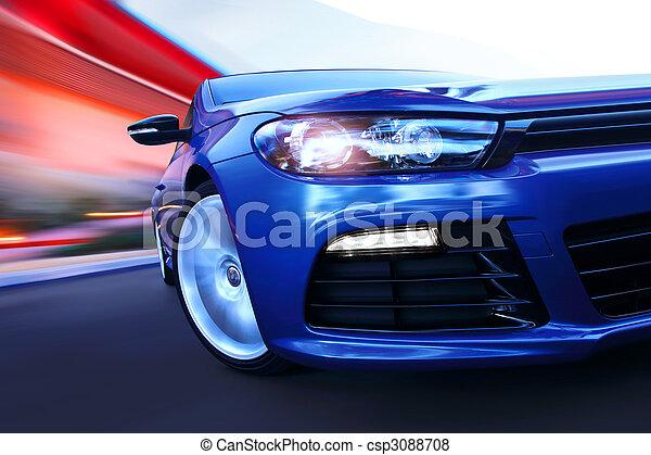 luxury car in motion - csp3088708