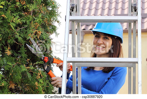 Woman in helmet on ladder uses gardening tool to trim bushes