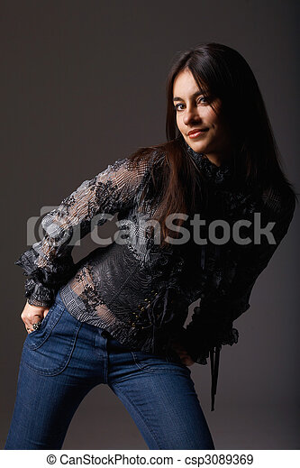 Attractive young woman in her favourite clothes - csp3089369