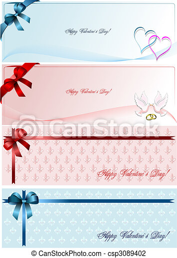 Envelope with blue  ribbon corner and doves - csp3089402