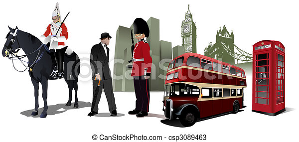 Few London images on city background - csp3089463