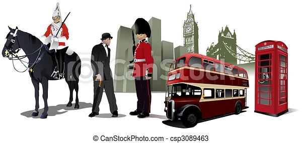 Few London images on city background - csp3089463