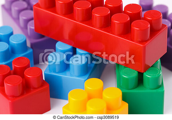 brinquedo, blocos, plástico - csp3089519