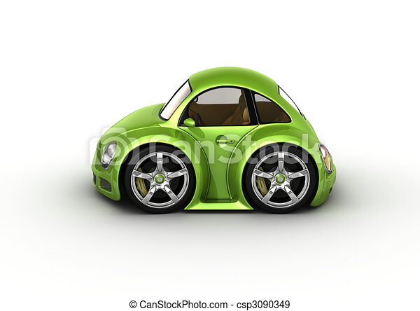 stock illustration of green car fancy 3d isolated cars