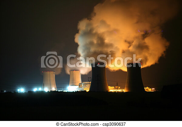 Nuclear power station at night, Dukovany, Czech Republic - csp3090637