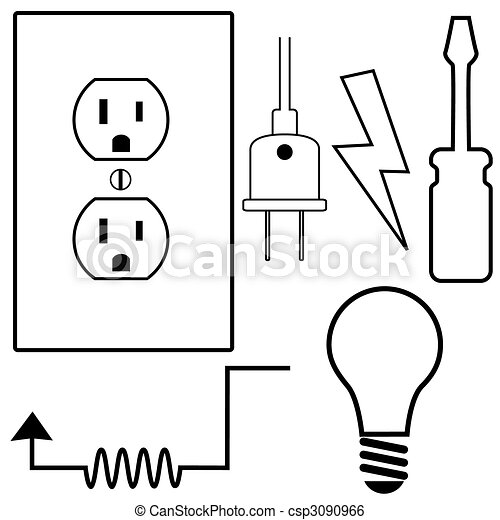 Electrical Repair Contractor Electrician Symbol Icons Set - csp3090966