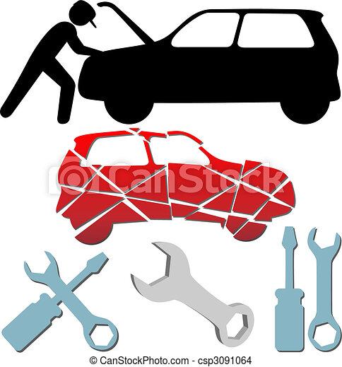 Auto Repair Maintenance Car Mechanic symbol set - csp3091064