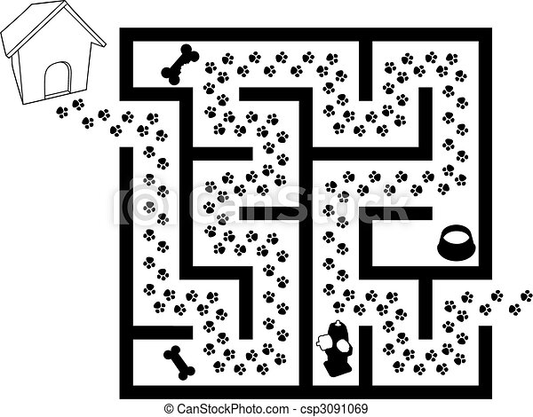 Maze Puzzle of Pet Puppy Dog Paw Prints Trail - csp3091069