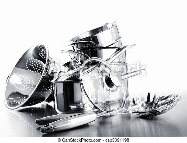 Pile of pots and pans against  white - csp3091198