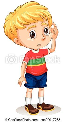 Clip Art Vector of Little boy with sad face illustration ...