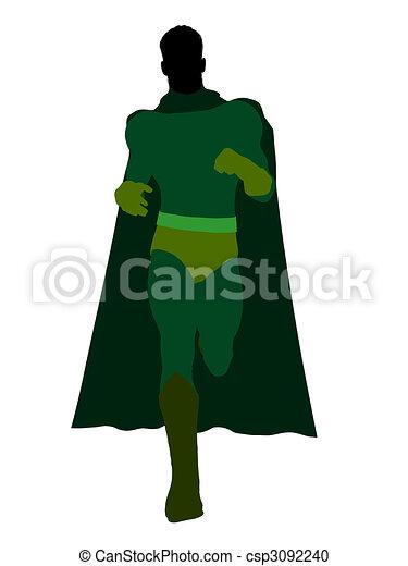 Male Super Hero Illustration Silhouette - csp3092240