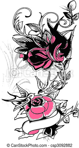 tribal swallow and flower design - csp3092882