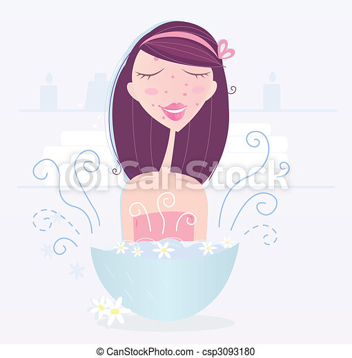Woman is taking camomile skin care - csp3093180