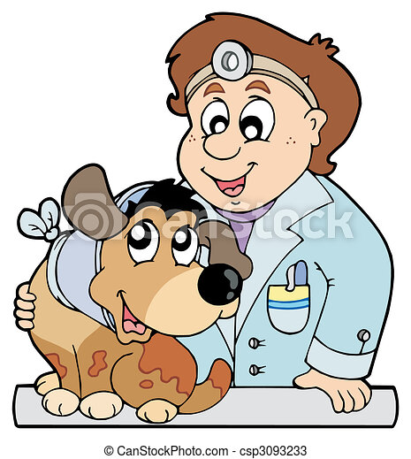 Dog with collar at veterinarian - csp3093233