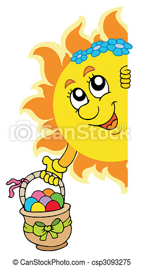 Lurking Sun with Easter eggs - csp3093275