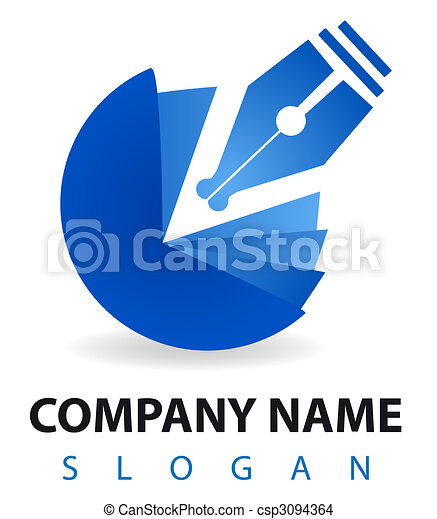 Business logo: a blu pen and inkwell - csp3094364