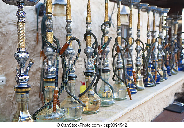 Arabic Shisha Waterpipes Lined Up In A Restaurant - csp3094542