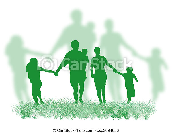 Family on the grass - csp3094656