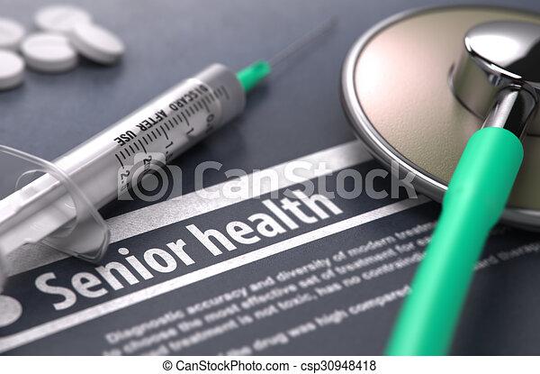 Senior Health - Medical Concept on Grey Background.
