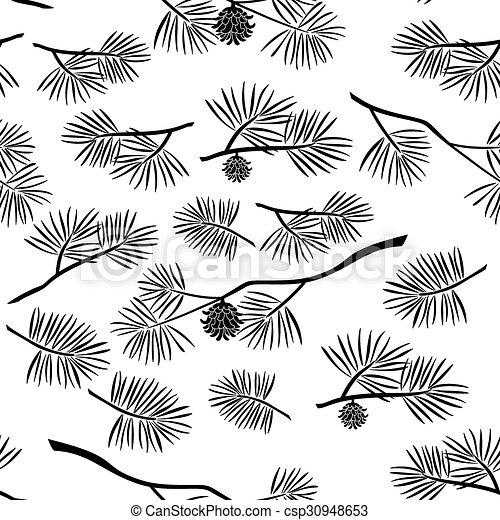 矢量-分支, seamless, 背景, 松树