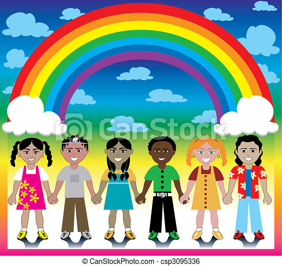 Rainbow Background with Kids - csp3095336