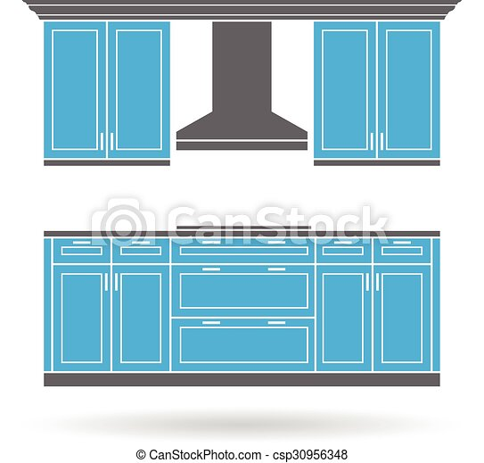 Eps Vector Of Modern Kitchen Cabinets With Cooktop Color Design Csp30956348 Search Clip Art