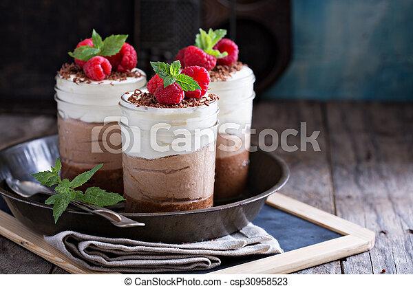 Three chocolate mousse dessert in a jar