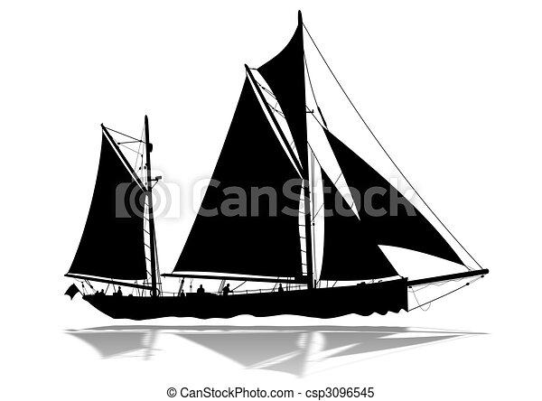 Sailing Boat silhouette - csp3096545