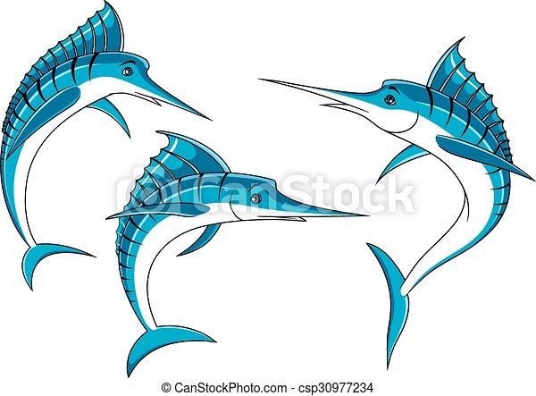 Vectors of Jumping blue marlin fish characters - Ocean blue marlin ...