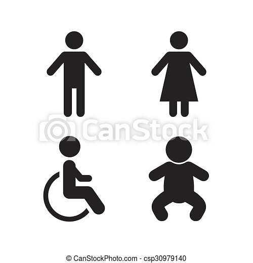 Wc Toilet Icons Human Male Or Female 30979140 on black international