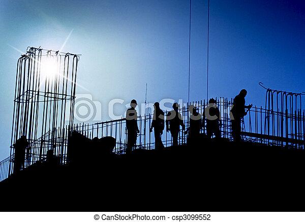 azul, construção, local - csp3099552