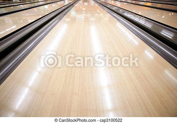 Bowling street wooden floor perspective - csp3100522